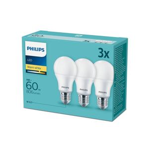 Philips SADA 3x LED Žárovka Philips E27/9W/230V